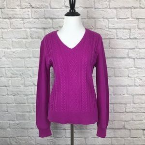 Chaps Cable Knit Sweater Medium V Neck Magenta